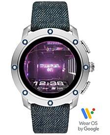 Tech Men's Axial Denim Blue Fabric Strap Touchscreen Smart Watch 48mm, Powered by Wear OS by Google™