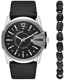 Men's Master Chief Black Leather Strap Watch 45mm Box Set