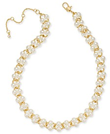 "Gold-Tone Imitation Pearl Link Statement Necklace, 18"" + 3"" extender"