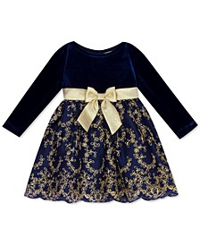 Baby Girls Velvet & Embroidered-Skirt Dress