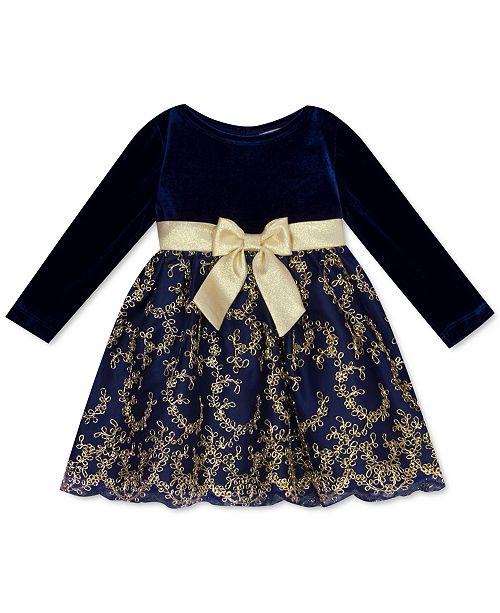 Rare Editions Baby Girls Velvet & Embroidered-Skirt Dress