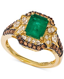 Costa Smeralda Emerald (1-1/5 ct. t.w.) & Diamond (3/4 ct. t.w.) Ring set in 14k Gold