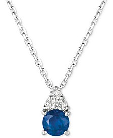 "Sapphire (3/8 ct. t.w.) & Diamond (1/20 ct. t.w.) 16"" Pendant Necklace in 14k White Gold"