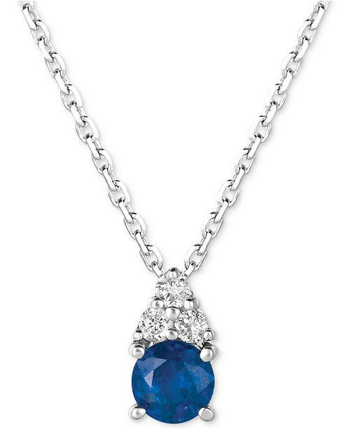 "Macy's Sapphire (3/8 ct. t.w.) & Diamond (1/20 ct. t.w.) 16"" Pendant Necklace in 14k White Gold"