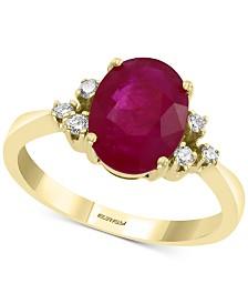 EFFY® Certified Ruby (3-1/2 ct. t.w.) & Diamond (1/10 ct. t.w.) Ring in 14k Gold