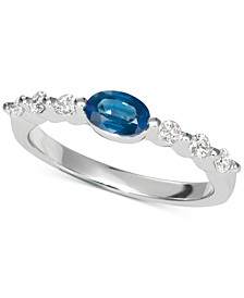 Sapphire (5/8 ct. t.w.) & Diamond (1/5 ct. t.w.) Ring in 14K White Gold