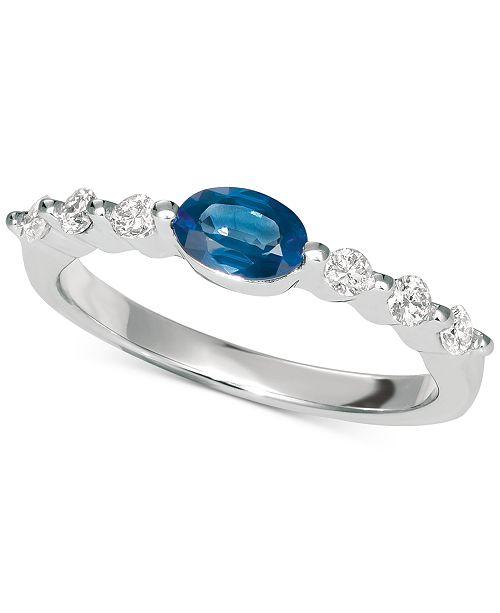 Macy's Sapphire (5/8 ct. t.w.) & Diamond (1/5 ct. t.w.) Ring in 14K White Gold