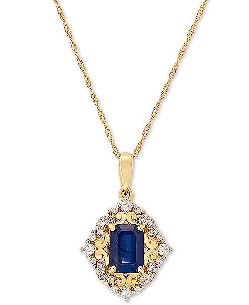 "Macy's Sapphire (1 -/6 ct. t.w.) & Diamond (1/5 ct. t.w.) 18"" Pendant in 14k Gold"
