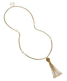 Stone Fireball Tassel Pendant Necklace