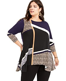Plus Size Printed Asymmetric Top, Created For Macy's