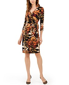 INC Petite Jungle Print Faux Wrap Dress, Created For Macy's