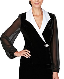 Collared Stretch Velvet Jacket