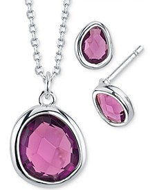 2-Pc. Set Mini Birthstone Crystal Pendant Necklace & Stud Earrings in Fine Silver-Plating, Created for Macy's