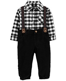 Baby Boys 3-Pc. Cotton Checkered Bodysuit, Suspenders & Corduroy Pants Set