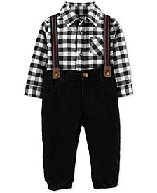 Carter's Baby Boys 3-Pc. Cotton Checkered Bodysuit, Suspenders & Corduroy Pants Set
