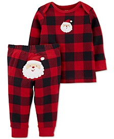 Baby Boys or Girls 2-Pc. Cotton Buffalo-Check Santa Top & Pants Set