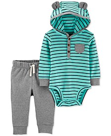Baby Boys 2-Pc. Hooded Bodysuit & Jogger Pants Set