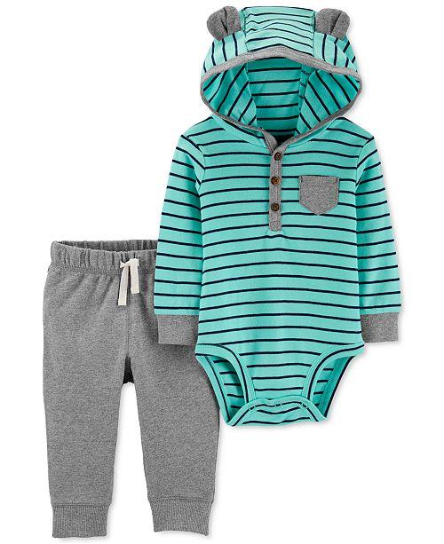 Carter's Baby Boys 2-Pc. Hooded Bodysuit & Jogger Pants Set
