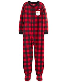 Little & Big Boys 1-Pc. Buffalo-Check Fleece Santa Footed Pajamas