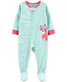 Baby Girls Footed Fleece Corgi Pajamas