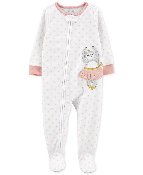 Carter's Baby Girls Footed Fleece Ballerina Sloth Pajamas