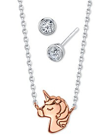 2-Pc. Set Two-Tone Mini Unicorn Pendant Necklace and Crystal Stud Earrings in Fine Silver-Plate & Rose Gold-Tone, Created for Macy's
