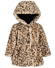 Baby Girls Hooded Leopard-Print Faux-Fur Coat, Created For Macy's