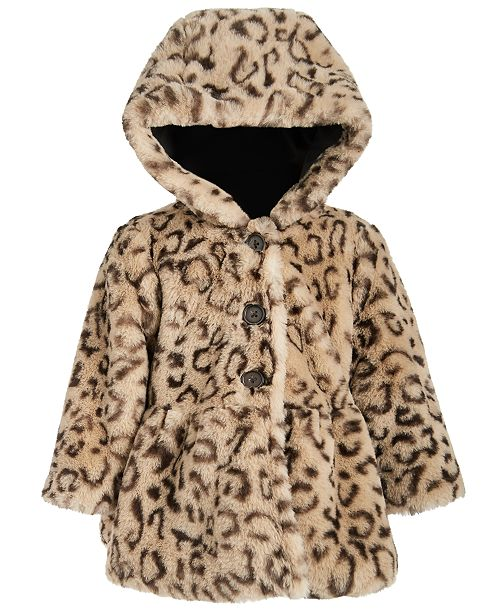 First Impressions Baby Girls Hooded Leopard-Print Faux-Fur Coat, Created For Macy's