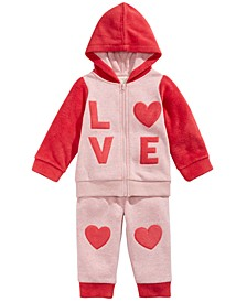 Baby Girls 2-Pc. Love Minky Hoodie & Pants Set, Created For Macy's