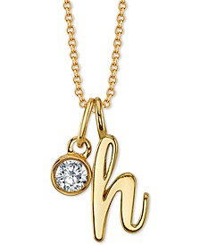 """Initial & Cubic Zirconia Charm Pendant Necklace in Gold-Tone Fine Silver-Plate, 16"""" + 2"""" extender"""