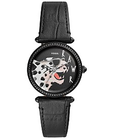 Fossil Women's Lyric Black Leather Strap Watch 32mm