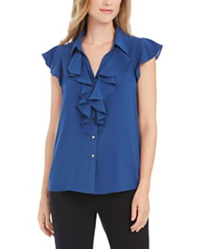Calvin Klein Ruffled Button-Front Top