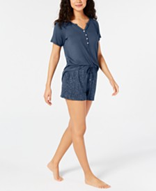 Alfani Super Soft Henley Sleep T-Shirt & Sleep Shorts, Created for Macy's
