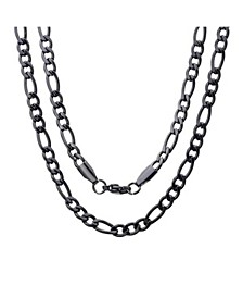 Men's black IP Plated Stainless Steel Figaro Chain Link Necklaces