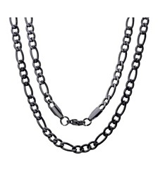 Steeltime Men's black IP Plated Stainless Steel Figaro Chain Link Necklaces