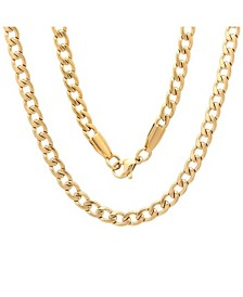 "Steeltime Men's 18k gold Plated Stainless Steel 24"" Figaro Style Chain Necklaces"