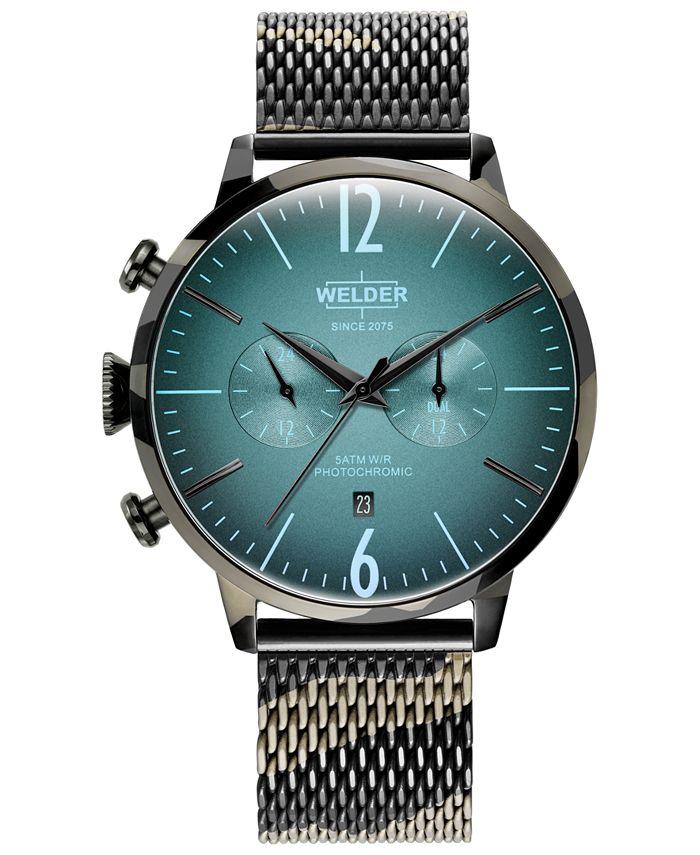 WELDER - Men's Camo Stainless Steel Mesh Bracelet Watch 47mm