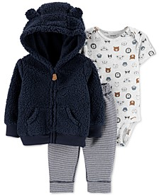 Baby Boys 3-Pc. Hooded Fleece Jacket, Bodysuit & Pants Set