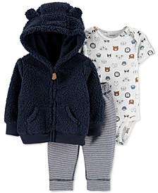 Baby Boys 3-Pc. Hooded Fleece Jacket, Bodysuit & Pants Set