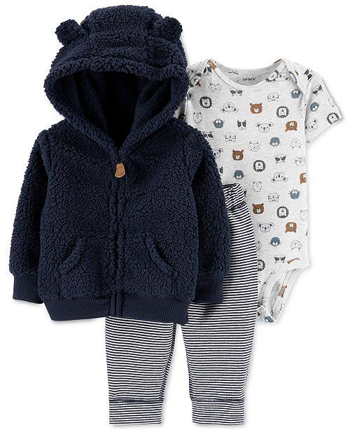 Carter's Baby Boys 3-Pc. Hooded Fleece Jacket, Bodysuit & Pants Set