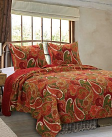Greenland Home Fashions Tivoli Cinnamon Quilt Set, 3-Piece King