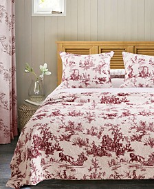 Greenland Home Fashions Classic Toile Red Bedspread Set, 3-Piece Queen