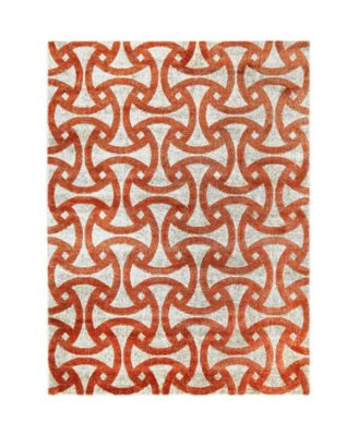 "Tanja Modern Orange 1'6"" x 2'6"" Area Rug"