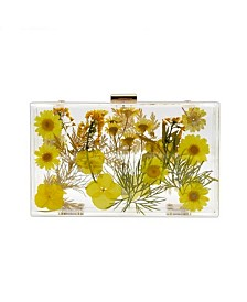 Milanblocks Transparent Floral Imprinted Acrylic Box Clutch