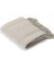 "Battilo Home Woven Raised Zigzag, Chain Patterns and Tasseled End Throw, 50"" X 60"""