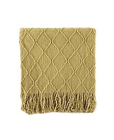 """Home Knit Diamond Patterned Throw, 80"""" X 52"""""""