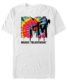 MTV Men's Tie-Dye Dripping Logo Short Sleeve T-Shirt