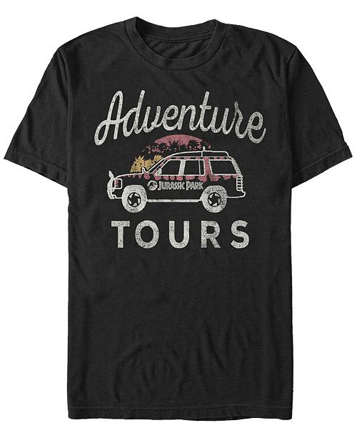 Jurassic Park Men's Distressed Vintage-Like Adventure Tours Short Sleeve T-Shirt