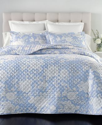 Cotton 210-Thread Count 2-Pc. Twin Quilted Printed Twin Coverlet Set, Created for Macy's