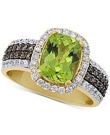Peridot (2-5/8 ct. t.w.) & Diamond (5/8 ct. t.w.) Statement Ring in 14k Gold